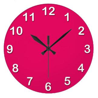 無地: ラズベリー ラージ壁時計