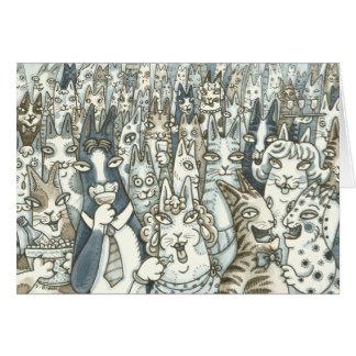 無声スー音のN Fitz猫はパーティー好きな人です! 挨拶状 カード