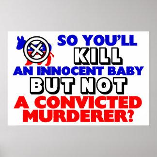 無実のベビーか有罪と決定された殺人者か。 ポスター