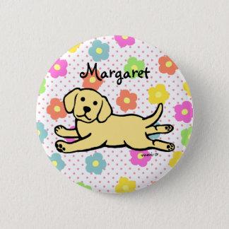 無実の黄色いラブラドールの子犬の漫画 5.7CM 丸型バッジ