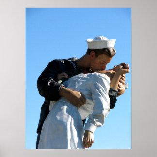 """""""無条件降伏""""の彫像- Sarasota、FL ポスター"""
