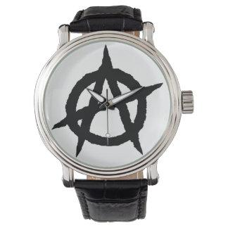 無秩序の記号の黒パンク音楽文化印の無秩序 腕時計