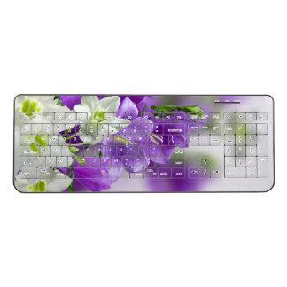 無線キーボード--紫色の花縦 ワイヤレスキーボード