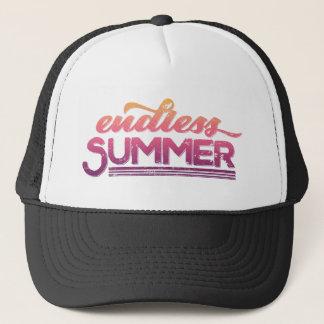 無限の夏のピンクの日没のヴィンテージのタイポグラフィ キャップ