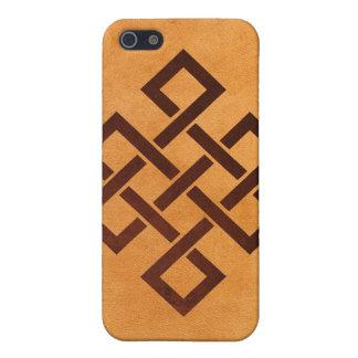 無限の結び目およびFalshの黄色い革Iphone4箱 iPhone 5 Case
