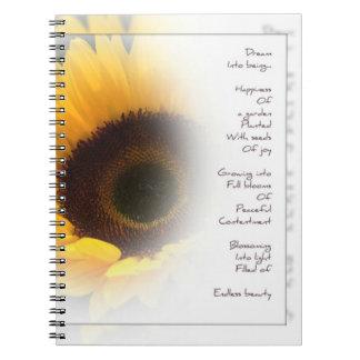 無限の美しいのヒマワリの感情的な詩歌 ノートブック