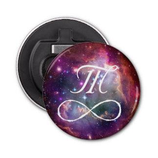 無限ループおよび銀河系の宇宙のヒップスターのモノグラム 栓抜き