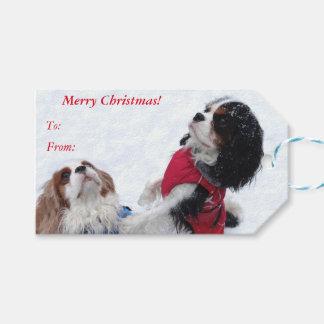 無頓着なチャールズ王スパニエル犬のクリスマスのギフトのラベル ギフトタグ