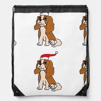 無頓着なチャールズ王スパニエル犬のクリスマスの芸術 ナップサック