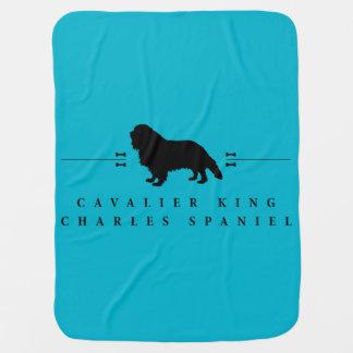 無頓着なチャールズ王スパニエル犬のシルエット-1- ベビー ブランケット