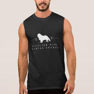 無頓着なチャールズ王スパニエル犬のシルエット-2- 袖なしシャツ
