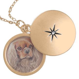 無頓着なチャールズ王スパニエル犬犬の芸術のネックレス ゴールドプレートネックレス