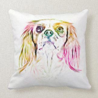 無頓着なチャールズ王スパニエル犬犬の芸術の絵画 クッション
