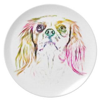 無頓着なチャールズ王スパニエル犬犬の芸術の絵画 プレート