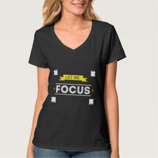 焦点の生産性の黒のV首のワイシャツ Tシャツ