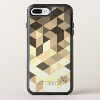 焦茶およびセピア色の幾何学的な形 オッターボックスシンメトリーiPhone 8 PLUS/7 PLUSケース
