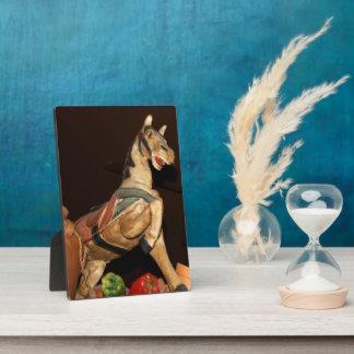 焦茶の写真の馬の彫像そしてメキシコ装飾 フォトプラーク
