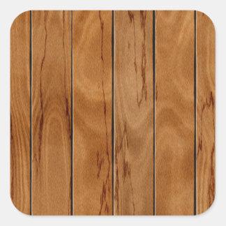 焦茶の木の床の質 正方形シール・ステッカー
