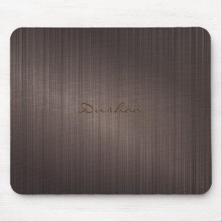 焦茶の金属デザインはアルミニウム一見にブラシをかけました マウスパッド