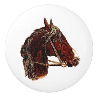 焦茶の馬頭部のポートレートのヴィンテージの芸術 セラミックノブ