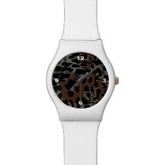 焦茶の黒いチータの抽象芸術 腕時計