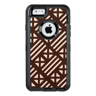 焦茶MudClothの刺激を受けたなタイルのタイルの十字 オッターボックスディフェンダーiPhoneケース