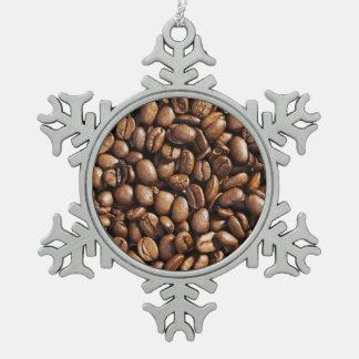 焼かれたコーヒー豆の質の構造 スノーフレークピューターオーナメント