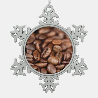 焼かれたコーヒー豆 スノーフレークピューターオーナメント
