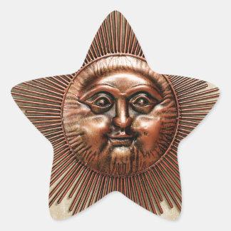 焼けつく太陽の銅の壁の彫刻 星シール