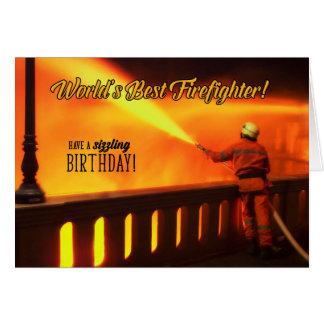 焼けるように暑いお祝いのための消防士の誕生日 カード