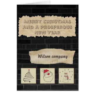 煉瓦おもしろいなクリスマスの企業のな休日のカレンダー カード