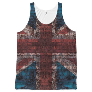 煉瓦のグランジな英国国旗 オールオーバープリントタンクトップ