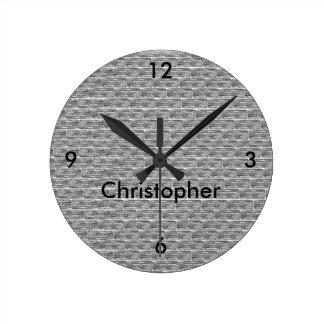 煉瓦デザインの名前入りな柱時計 ラウンド壁時計