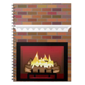煉瓦暖炉のベクトル ノートブック