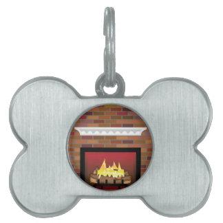 煉瓦暖炉のベクトル ペットネームタグ