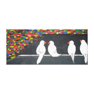 煉瓦鳥の壁: 落書きの壁 キャンバスプリント