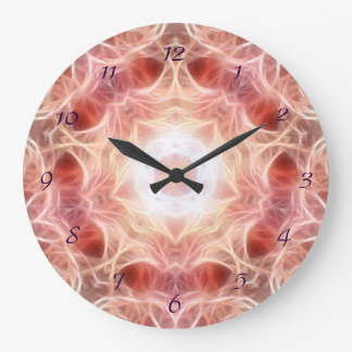 煙のピンクの曼荼羅の柱時計 ラージ壁時計