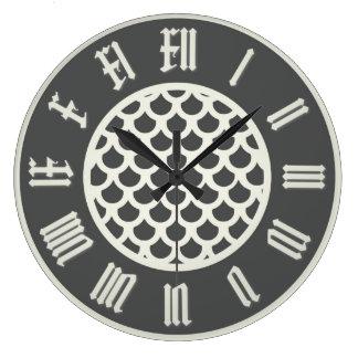 煙の魚スケール2の柱時計 ラージ壁時計