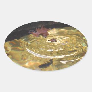 煙山の入り江で食べ物を与えている水中マス 楕円形シール