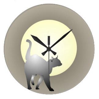 煙猫および月のデザインの柱時計 ラージ壁時計