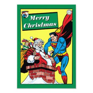 煙突の下のサンタクロースを救済しているスーパーマン 8.9 X 12.7 インビテーションカード