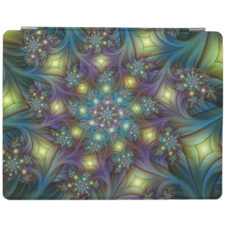照らされたモダンで青い紫色のフラクタルパターン iPadスマートカバー