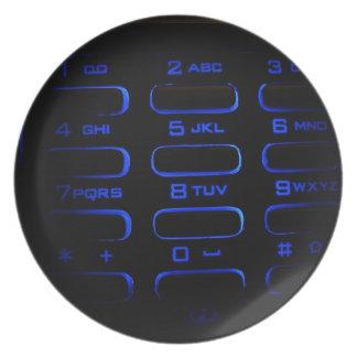 照らされた電話キーボード ディナープレート