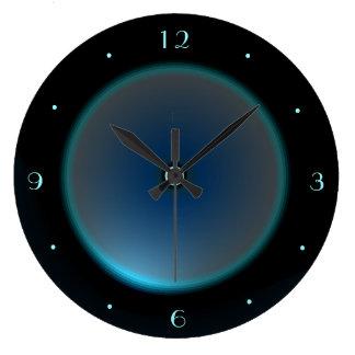 照らされた青または水の顔の>Wallの時計との黒 ラージ壁時計