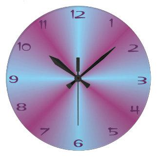 照らされるかわいらしい水のピンク>パターン(の模様が)あるな時計 ラージ壁時計