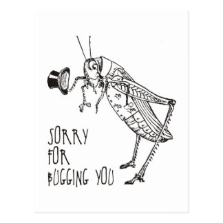 煩わせることのために残念: ヴィンテージのバッタ/コオロギ ポストカード