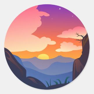 熟した日没の自然場面 ラウンドシール