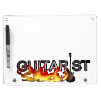 熱いエネルギーを燃やしているギタリストl キーホルダーフック付きホワイトボード