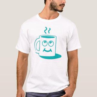 熱いコップの漫画のワイシャツ Tシャツ