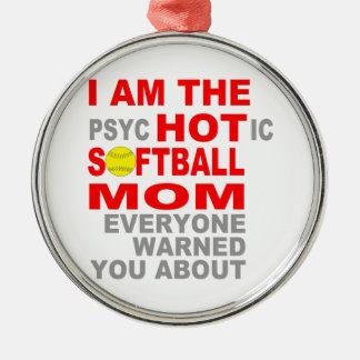熱いソフトボールのお母さん メタルオーナメント
